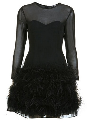 Robe Miss Selfridge à plumes noires