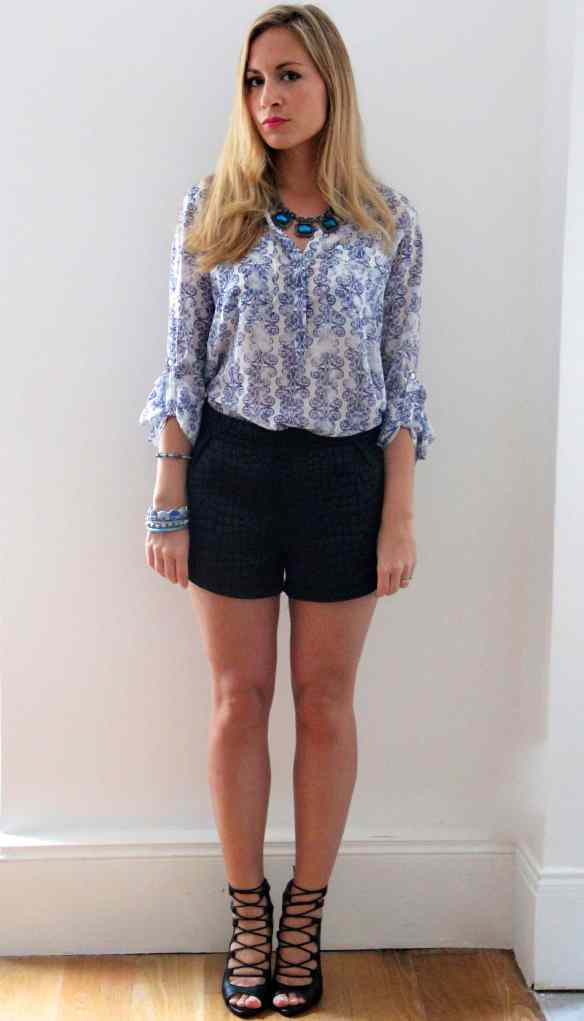 Blouse, short, talons: My Favorite combo! 2