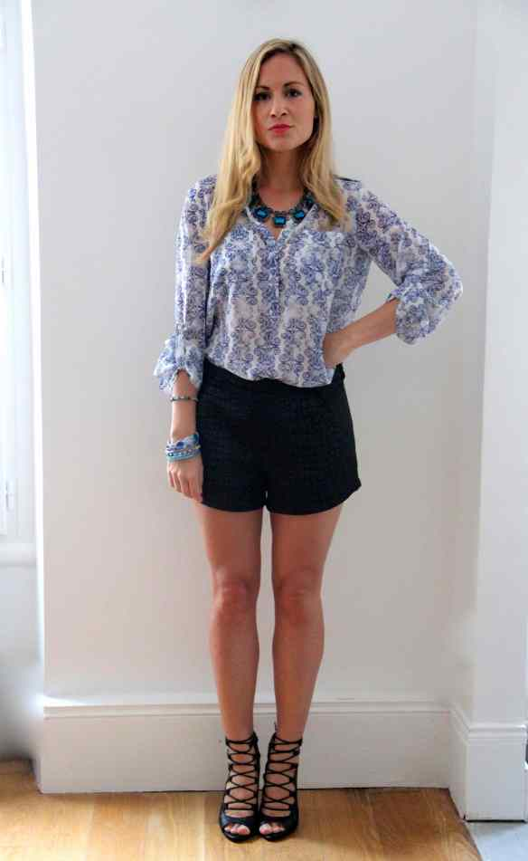 Blouse, short, talons: My Favorite combo! 9