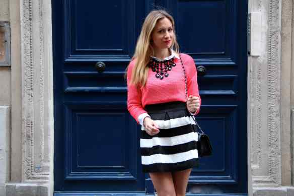 Skirt with Black and White Stripes 1