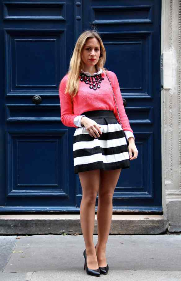 Skirt with Black and White Stripes 6