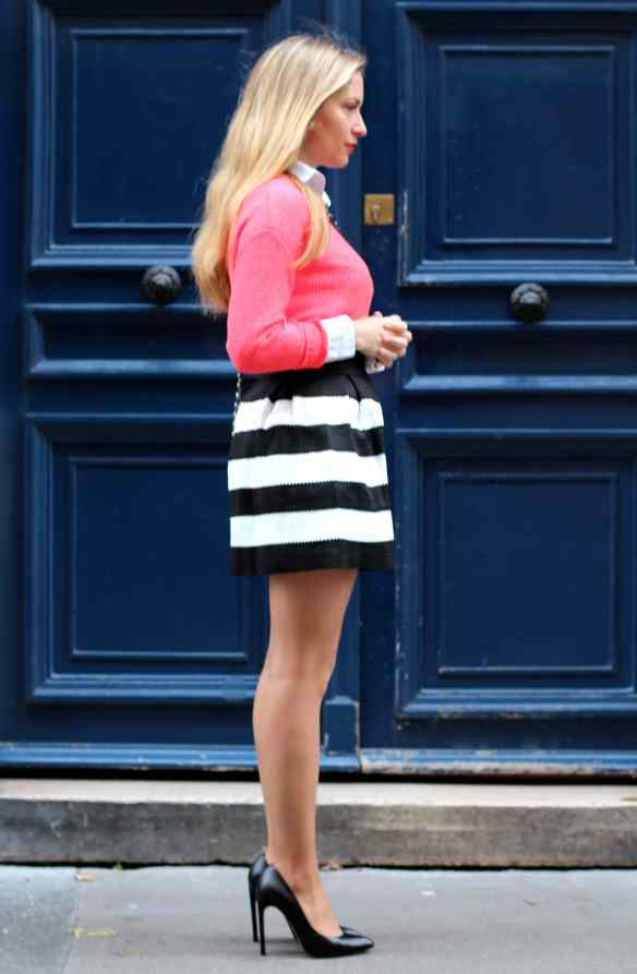 Skirt with Black and White Stripes 7