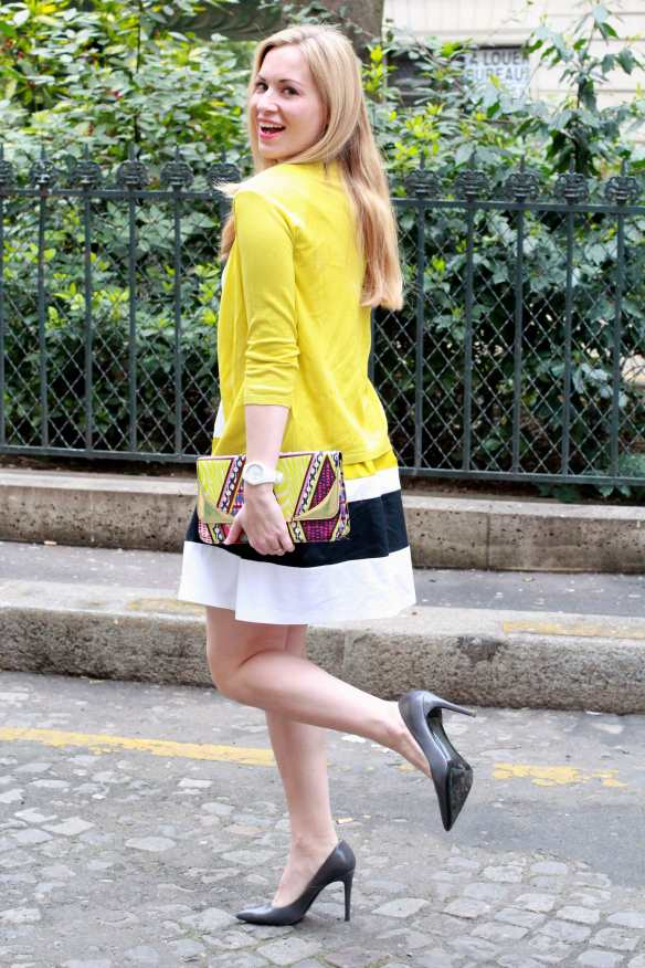 Preppy Dress - White & Yellow - 4