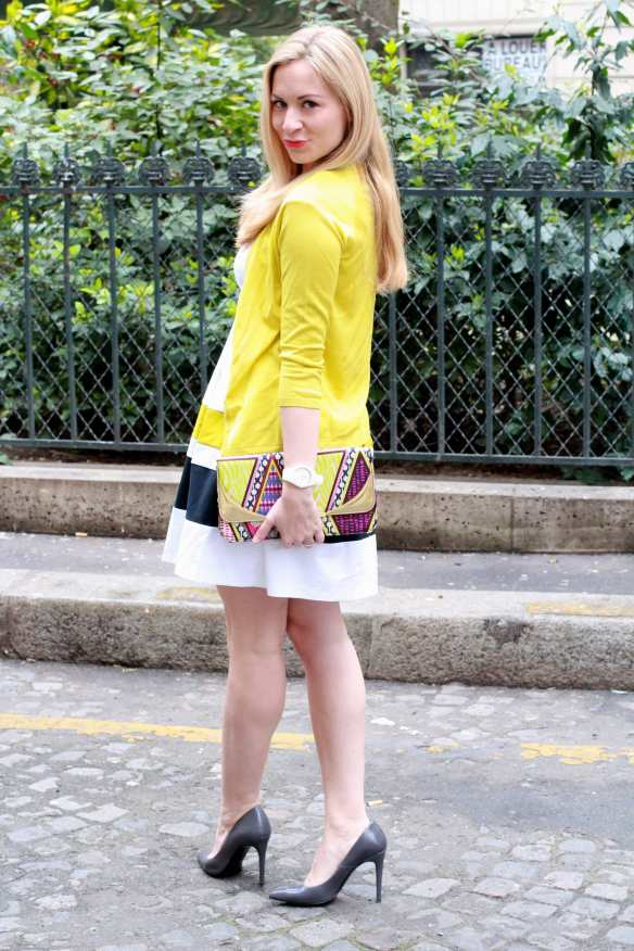 Preppy Dress - White & Yellow - 3