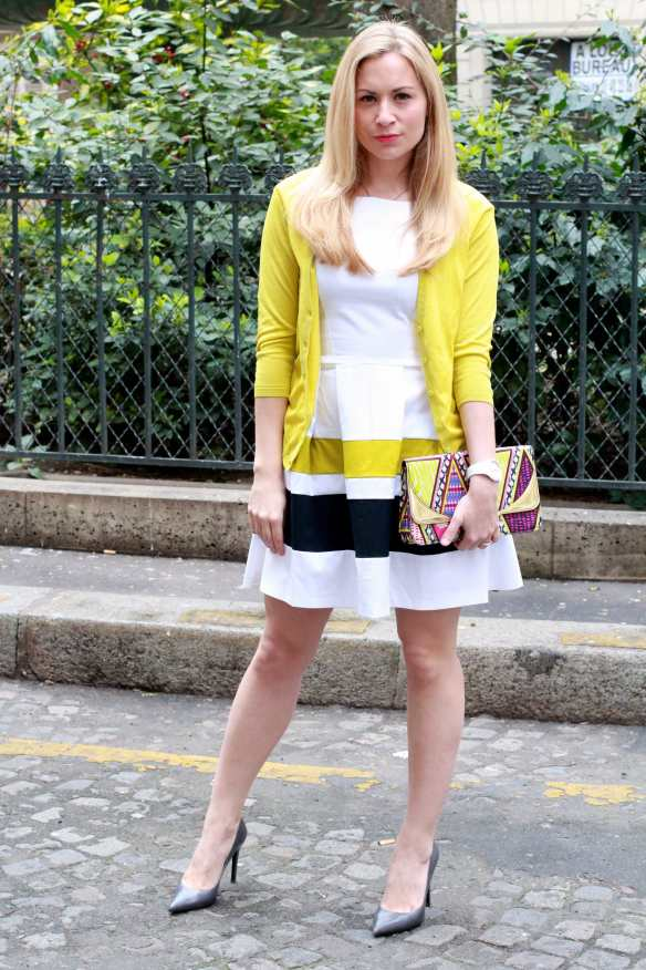 Preppy Dress - White & Yellow - 2