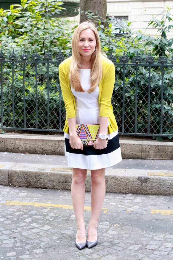 Preppy Dress - White & Yellow - 8