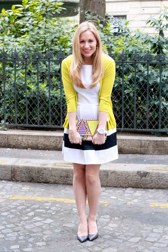 Preppy Dress - White & Yellow - 1