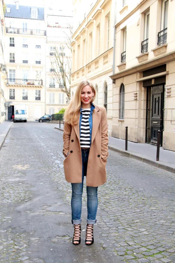 Un look décontracté tout en Jeans et Rayures pour finir la semaine 9